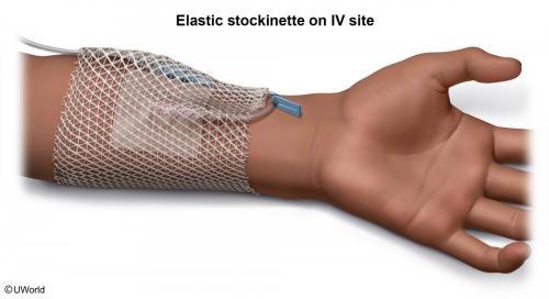 Gauze Wrap Stockinette On IV Site